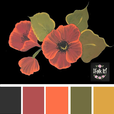 Folk art poppies painted in earthy tones with a pop of orange.  A beautiful colour palette with a bit of a retro feel.