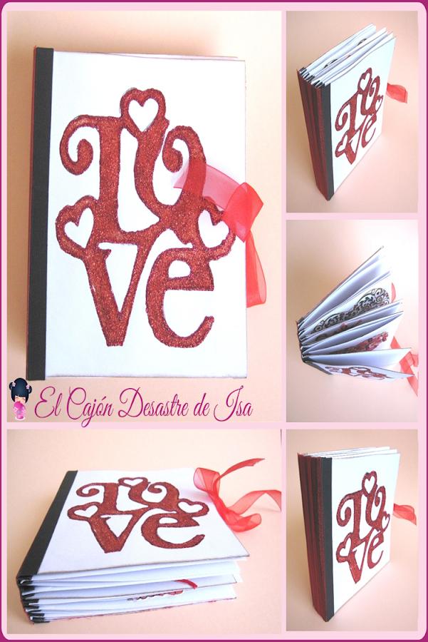 imagen para pinear del LOVE mini-álbum de scrapbooking, collage con varias imágenes de cómo queda el resultado final del tutorial