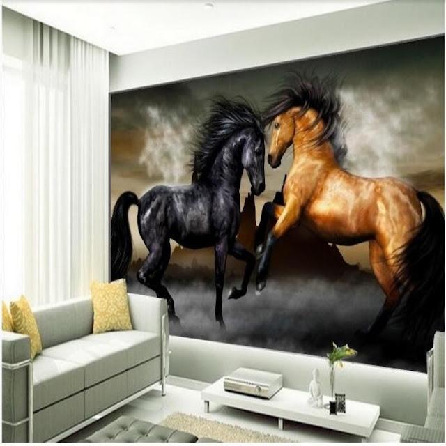 häst tapet svart brun hästar fototapet vardagsrum fondtapet flicktapet tjejrum ungdomstapet