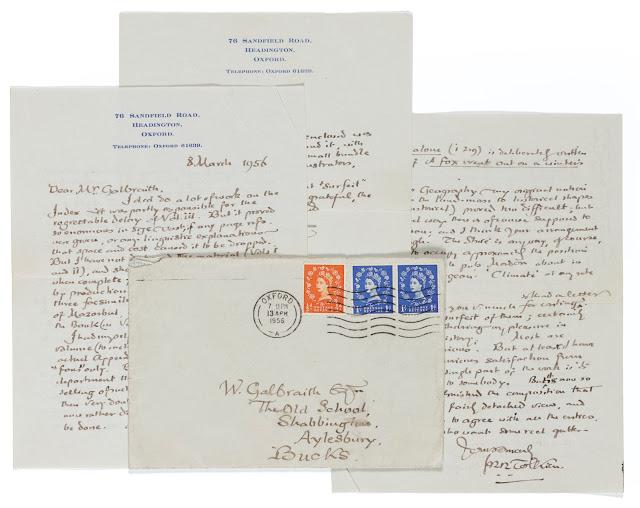 Due interessanti riferimenti in una lettera di Tolkien all'asta da Sotheby's