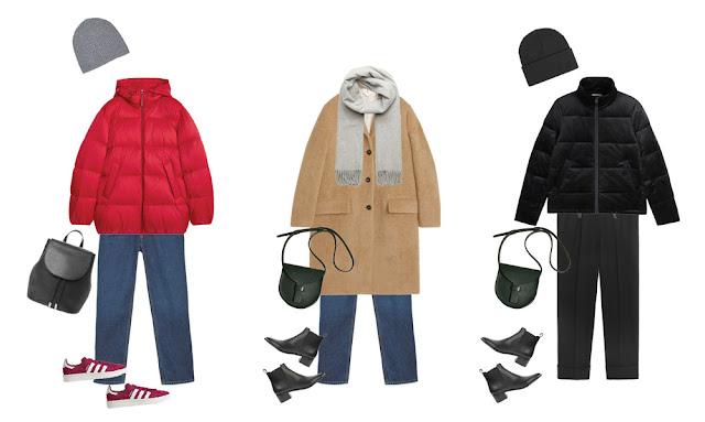 Красный пуховик с джинсами, пальто цвета кэмел и черный пуховик