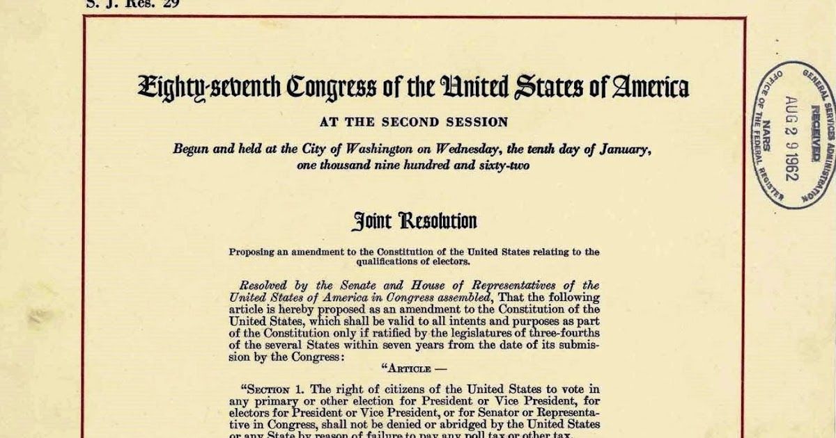 United States Constitution And Citizenship Day 24th Amendment
