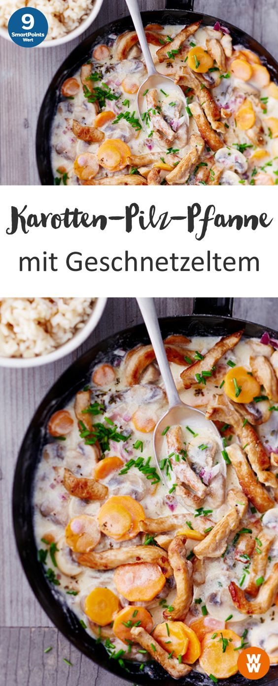 Karotten-Pilz-Pfanne mit Geschnetzeltem