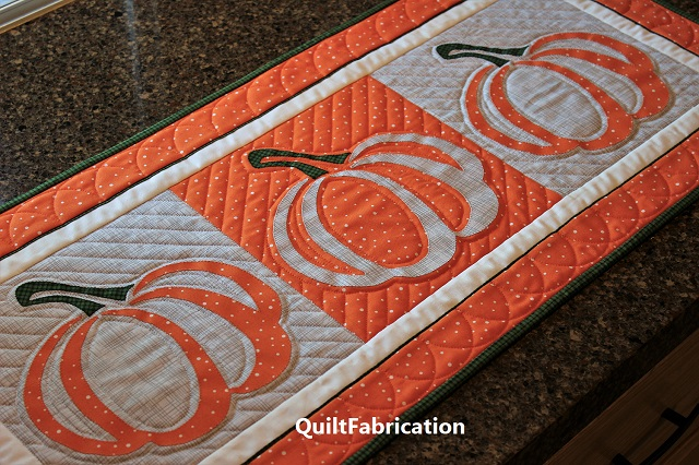 Pumpkin Applique Block table runner by QuiltFabrication