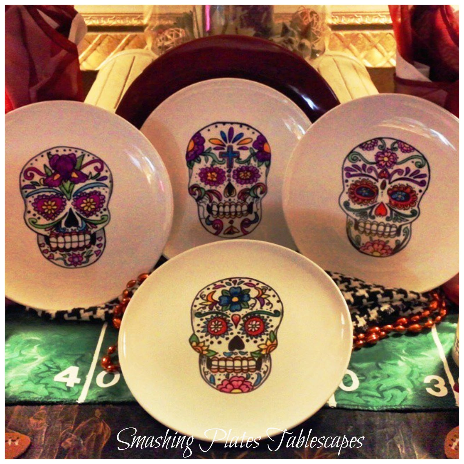 Day of the Dead plates I painted with Sharpies. & Smashing Plates Tablescapes: Halloween u0026 Dia de los Muertos Decor