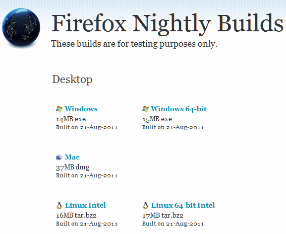 Firefox 10 Nightly Download for Mac, Linux and Windows