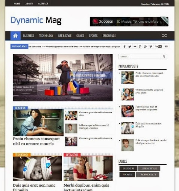 Dynamic Mag Magazine Blogger Template