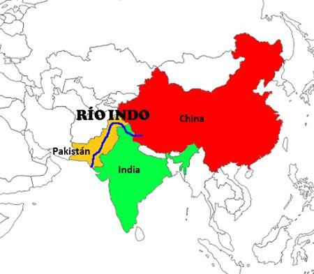 Rio Indo na Ásia (Mapa)