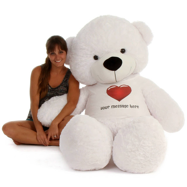 6ft White Coco Cuddles Personalized Valentine's Day Teddy Bear