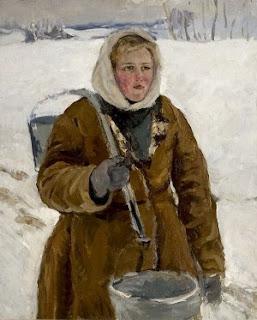Подборка живописи Девушка с коромыслом (За водой)