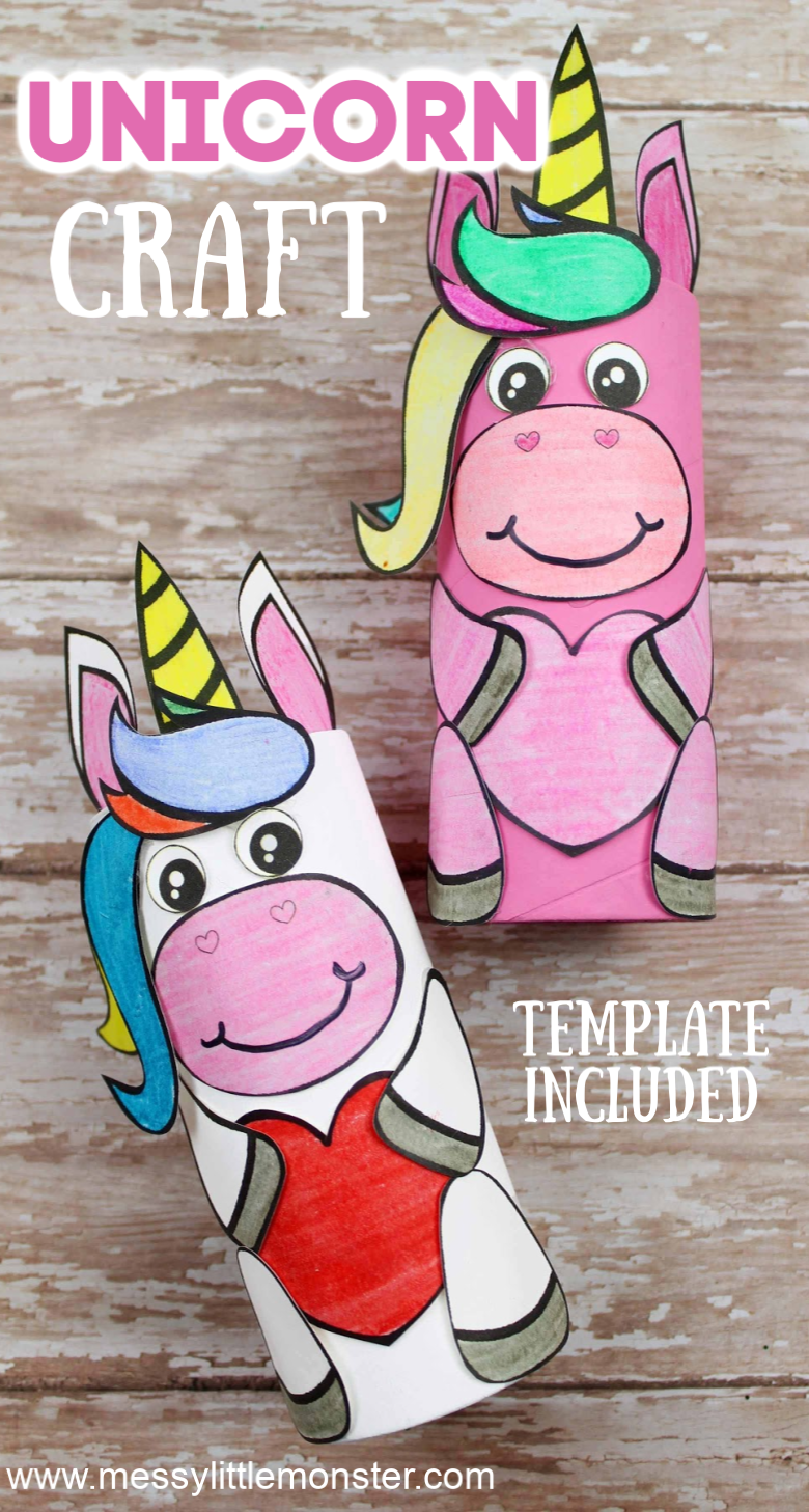 Unicorn craft for preschoolers. This cardboard tube craft comes with a unicorn template making it a really easy unicorn craft for kids.