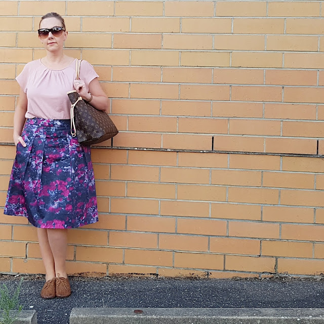Basque top, Jacqui E skirt, Louis Vuitton Neverfull | Almost Posh