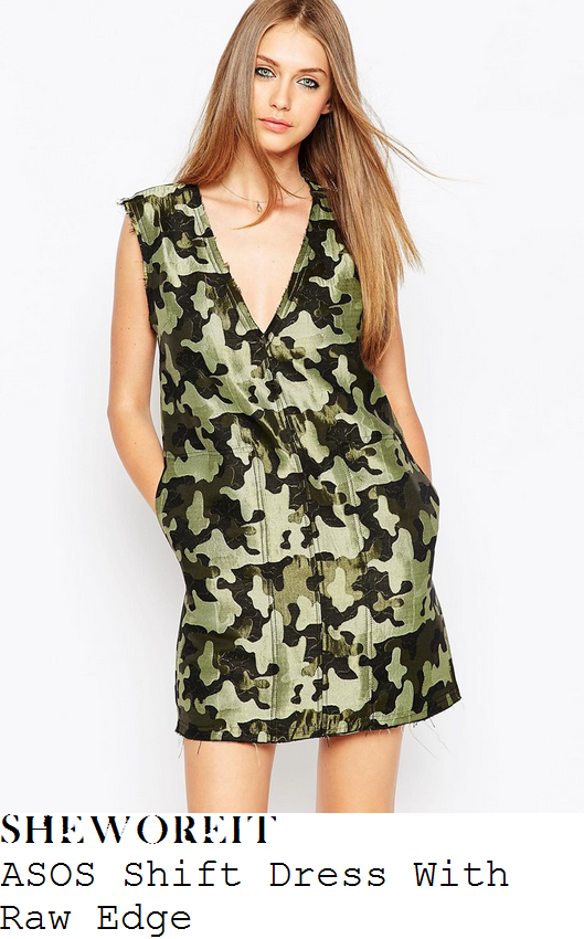 jade-thirlwall-green-camouflage-camo-jacquard-effect-print-sleeveless-v-neck-plunge-front-mini-dress-brits-after-party