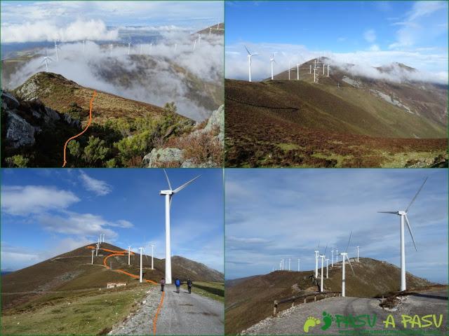 Bajando de la Rozada al parque eólico de la Sierra de Begega