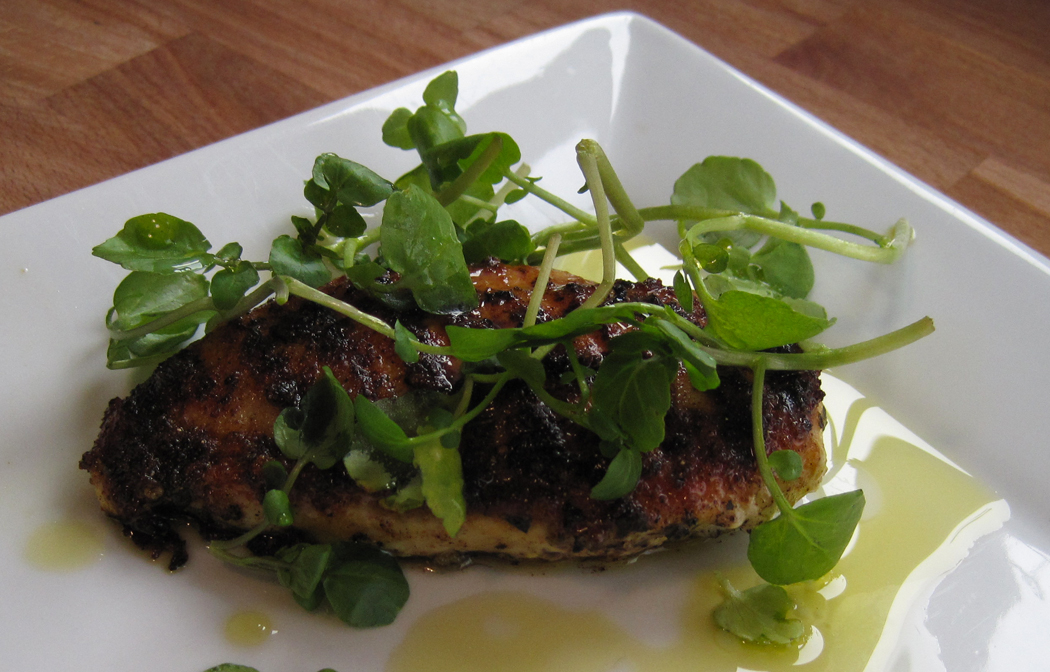 Curried Chicken Fillets with Watercress