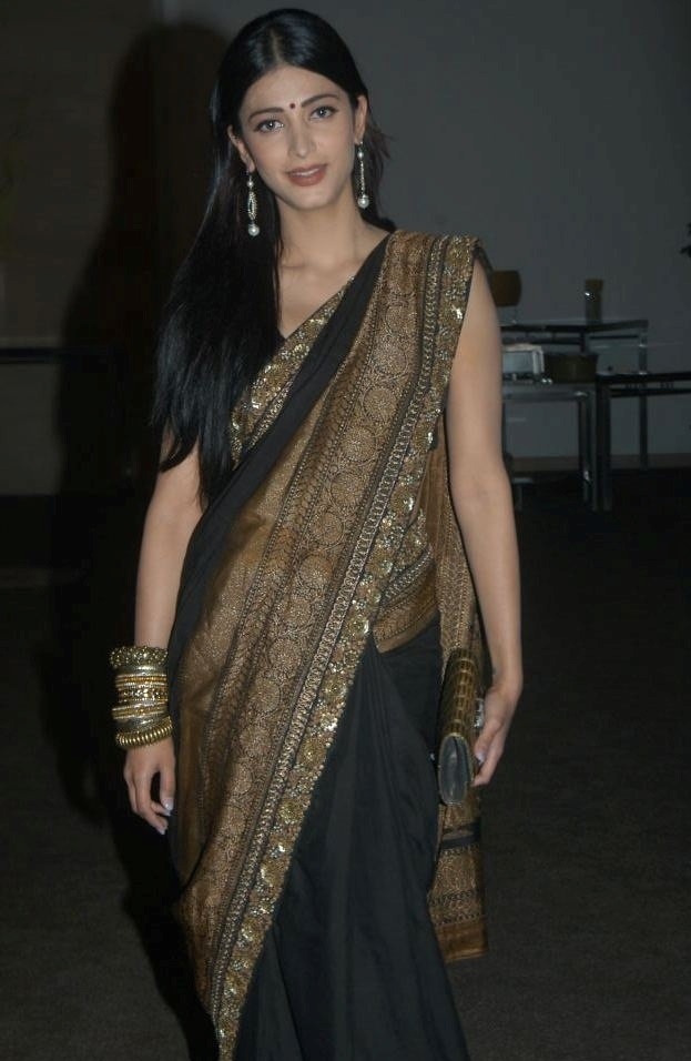 Actress Shruti Hassan In Transparent Black Saree