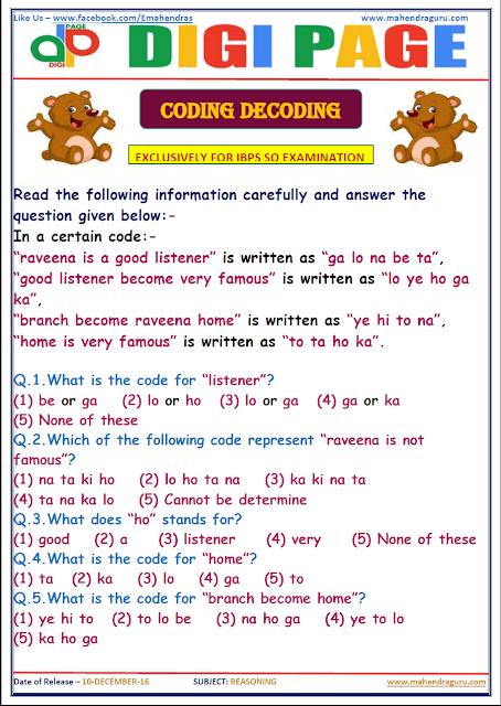 DP | CODING DECODING  | 10 - DEC - 16