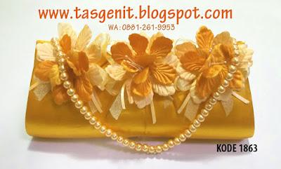 tas pesta gold, clutch bag gold, tas pesta kuning, tas pesta bunga, dompet pesta