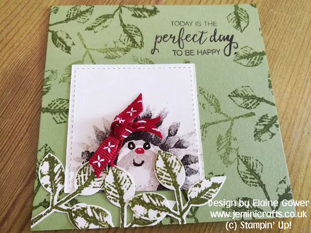Sweet hedgehog card design from a flower stamp set