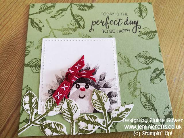 Sweet hedgehog card design from a flower stamp set