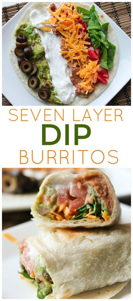 7 LAYER DIP BURRITOS #burritos #burritosrecipes #burritosideas #lunchrecipes #lunchideas