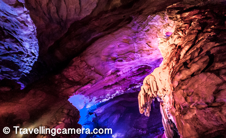 These light shades on the cave rocks keep changing. So when you point your camera towards any rock, you don't know which color would be captured. So it was important to understand the pattern and then time your click.