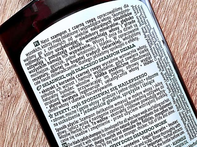 Farmona, Herba Care - Szampon Czarna Rzepa do włosów wypadających, etykieta