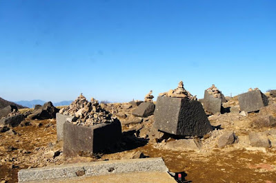 Rocks at the top of Mount Komagatake Japan