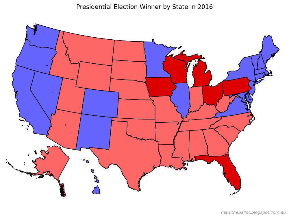 Mark The Ballot 2016 - Us-map-vote-2016