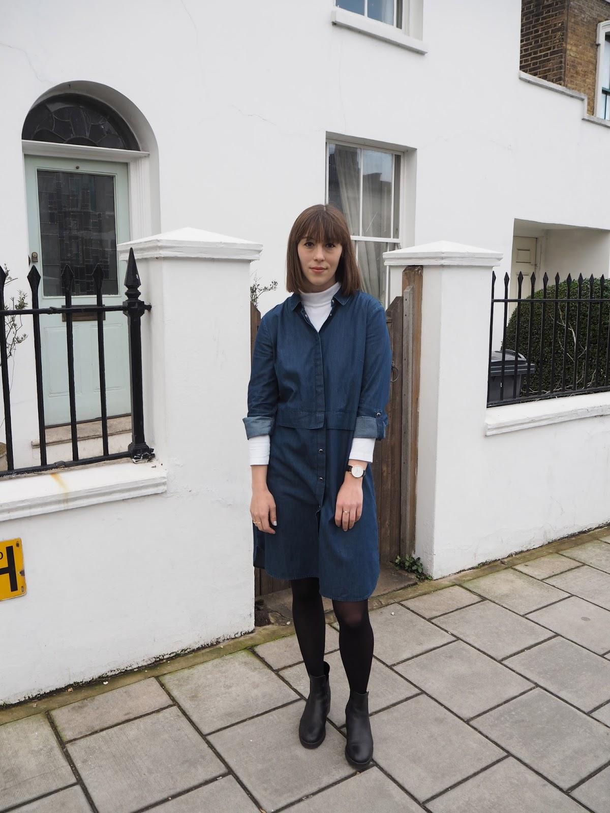 LFW AW16 denim shirt dress and blue faux fur outfit