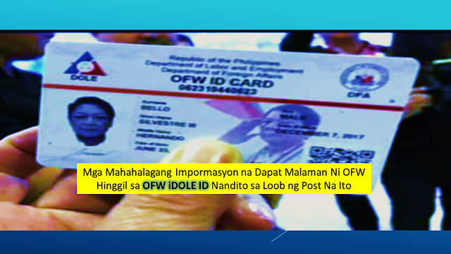 Important Reminders Regarding OFW IDole ID