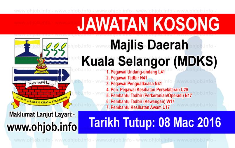 Jawatan Kerja Kosong Majlis Daerah Kuala Selangor (MDKS) logo www.ohjob.info mac 2016