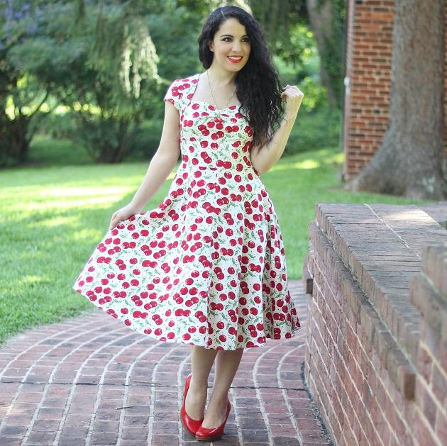 Cherry Print Retro Style Dress