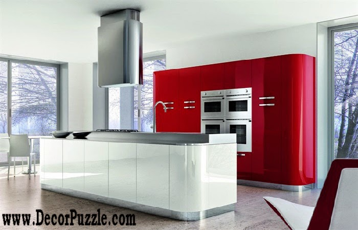 Modern red and white kitchen design in minimalist style 2017