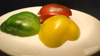 Red yellow green bell peppers