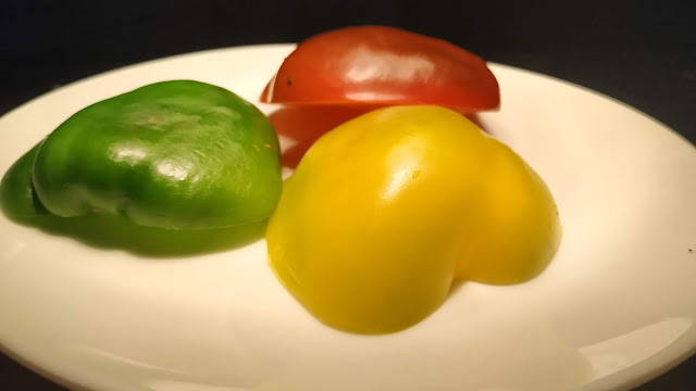 Red yellow green bell peppers Food Recipe Dinner ideas