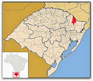 Cidade de Vacaria, no mapa do Rio Grande do Sul
