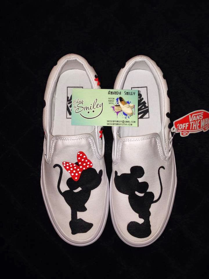 936085ba4afa Check out these adorable Mickey Mouse and Minnie Mouse kissing silhouette  shoes!