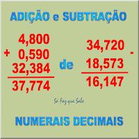 Regra prática para fazer contas de mais e de menos com números com vírgulas