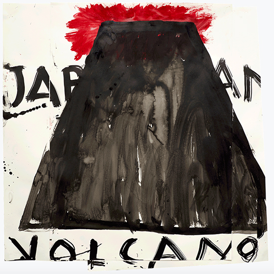 Rose Wylie Volcano, Japan, 2014 Ink, watercolor, and collage on paper 88 x 86.5 cm