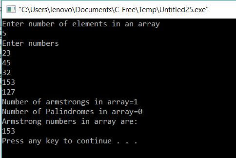 Program to print count of Armstrong and Palindromes in an Array
