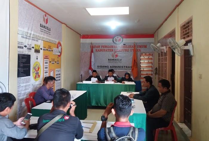 Bawaslu Lampura, Gelar Sidang Pelanggaran Administrsi Caleg Prov Lampung.