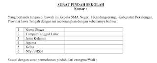 Contoh Format Surat Pindah Sekolah