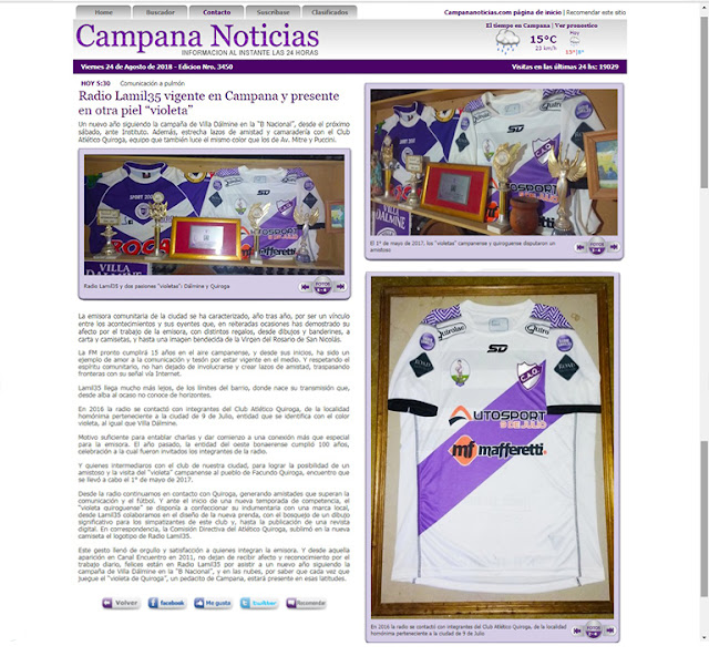 """Radio Lamil35 vigente en Campana y presente en otra piel """"violeta"""""""