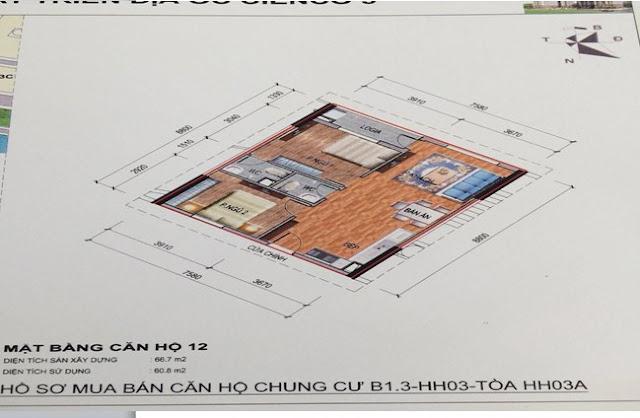 Sơ đồ thiết kế căn hộ 12 chung cư B1.3 HH03A Thanh Hà Cienco 5