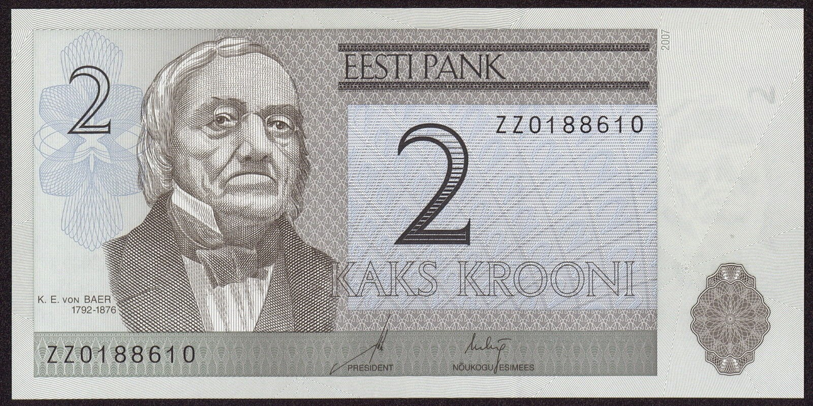 Estonia currency money 2 krooni banknote, Karl Ernst von Baer