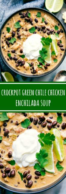 Crockpot Green Chile Chicken Enchilada Soup