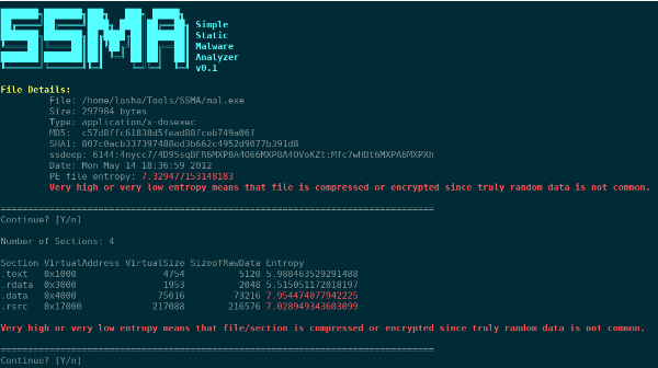 A Simple Static Malware Analyzer SSMA Tool