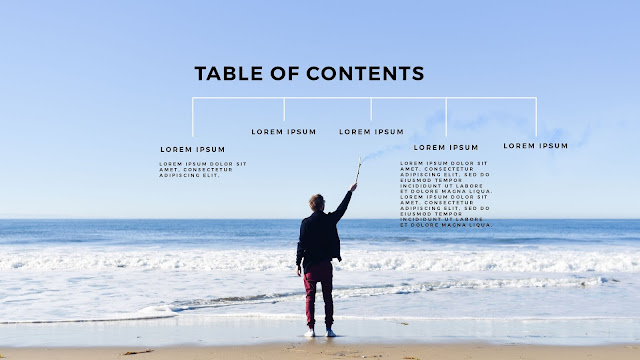 Table of Contents using man in beach  photo image for PowerPoint Presentation