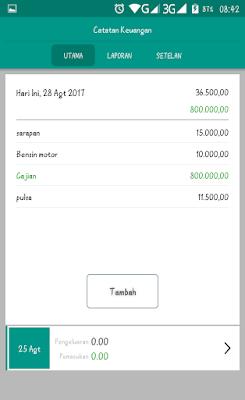 Tampilan utama aplikasi catatan keuangan harian - karyafikri.blogspot.com